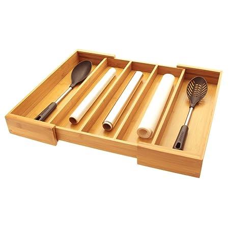 Ampliable cubiertos de utensilios de cocina bandeja de cajón para cubiertos, organizador de inserciones de cajón de cocina. Fabricado en madera de ...