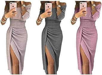 WFQGZ Damska Langarm Damska Abendkleid Bankett Kleid Frauen-XXS_Brown: Odzież