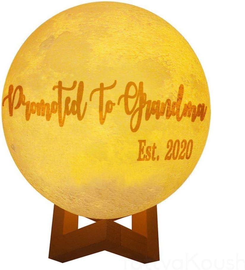 Lámpara de luz de la luna de la luz de la noche, decoración del hogar, 9,4 pulgadas, promovida a la abuela Est.2020, regalo del día del padre