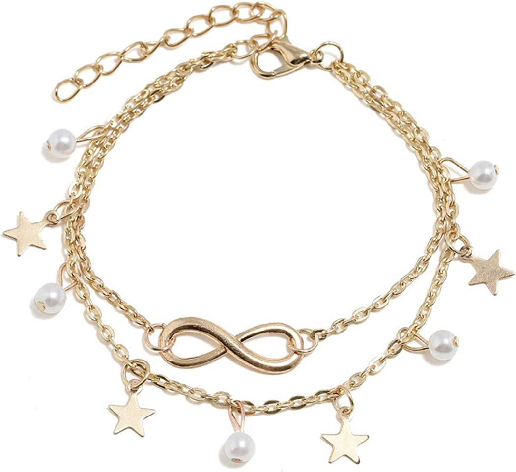 Ludress Boho Layered Anklets Gold Star Ankle Chain Pearl Ankle Bracelet Tassel Foot Chain Jewelry Accessories for Women and Girls