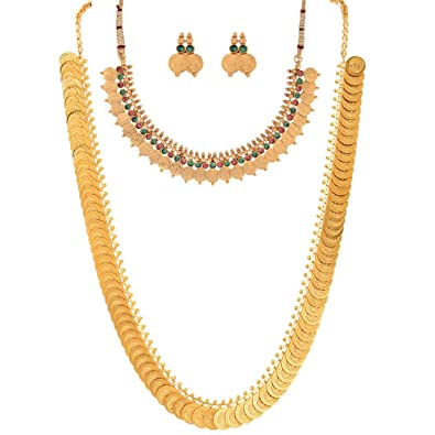 buy zeneme red gold plated coin chain long necklace short chain