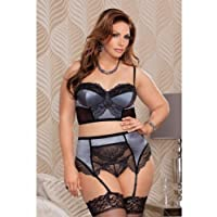 iCollection Lingerie Romantic High Waisted Lace Bra Set, Silver Bra Set