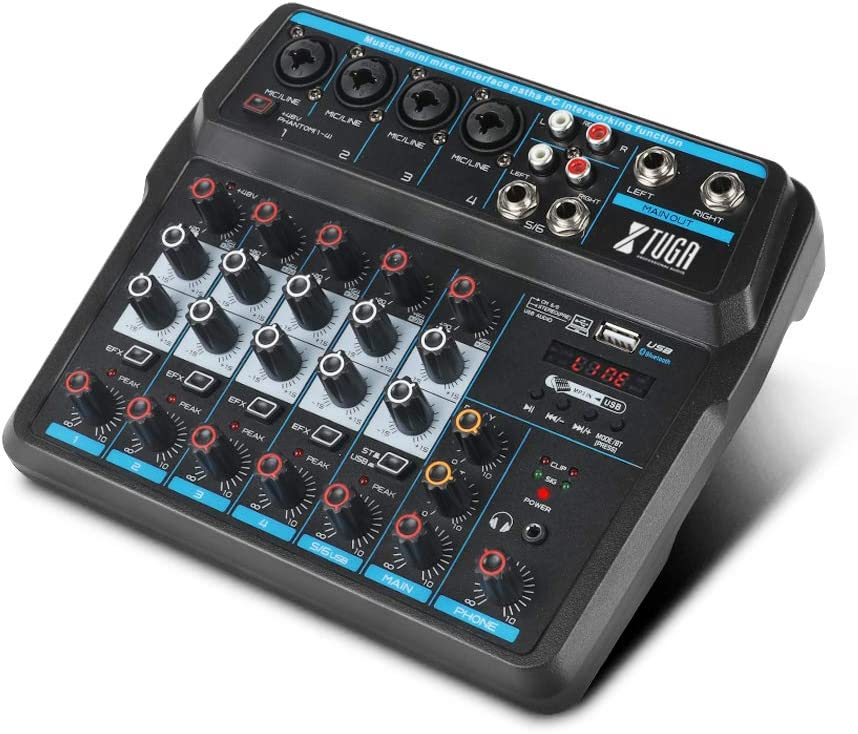 XTUGA AM6 6Channels Audio Mixer Sound Mixing Console with Bluetooth USB Record 48V Phantom Power Monitor Paths Plus Effects Use for home music production, webcast, K song