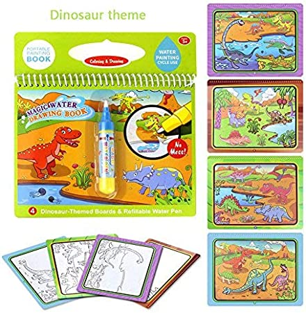 Tangomall Dinosaur Books for 3 4 5 6 7 8 Year olds Magical Water Coloring Book with Water Pen for Kids Water no Mess Book Paint with Water Book for Toddlers Activity for Children on a car
