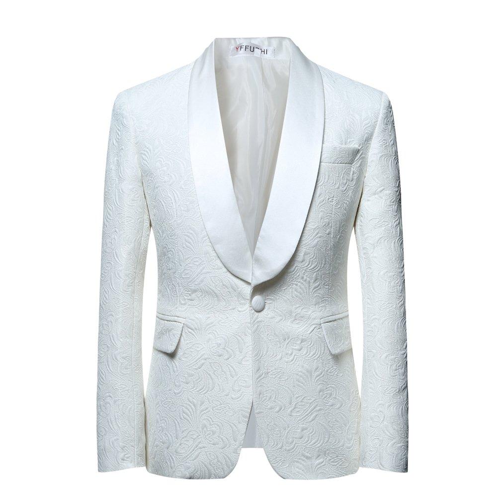 YFFUSHI Mens 1 Button 2 Piece White Tuxedo Shawl Collar Skinny Dress