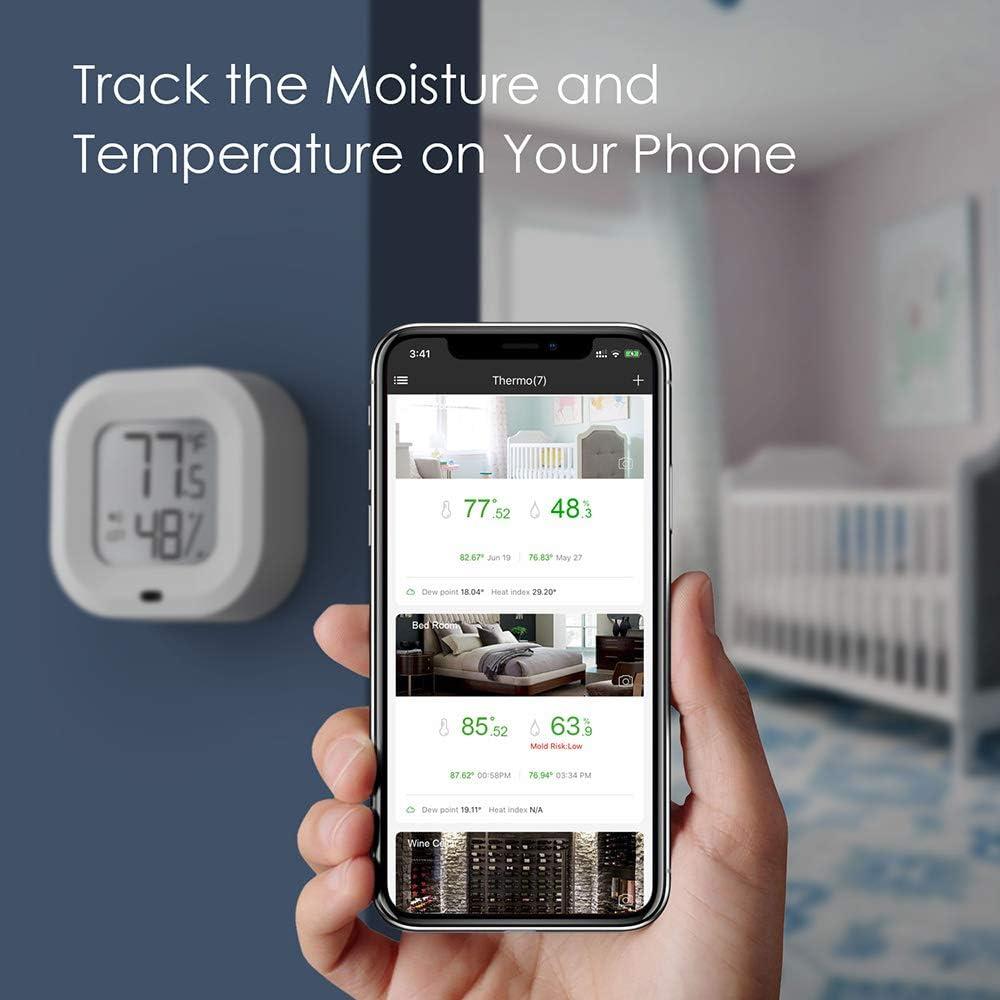 Thermom/ètre sans fil hygrom/ètre capteur dhumidit/é de la temp/érature int/érieure Bluetooth 5.0 moniteur dhumidit/é de la temp/érature avec alertes APP pour le bureau de serre de garage /à domicile