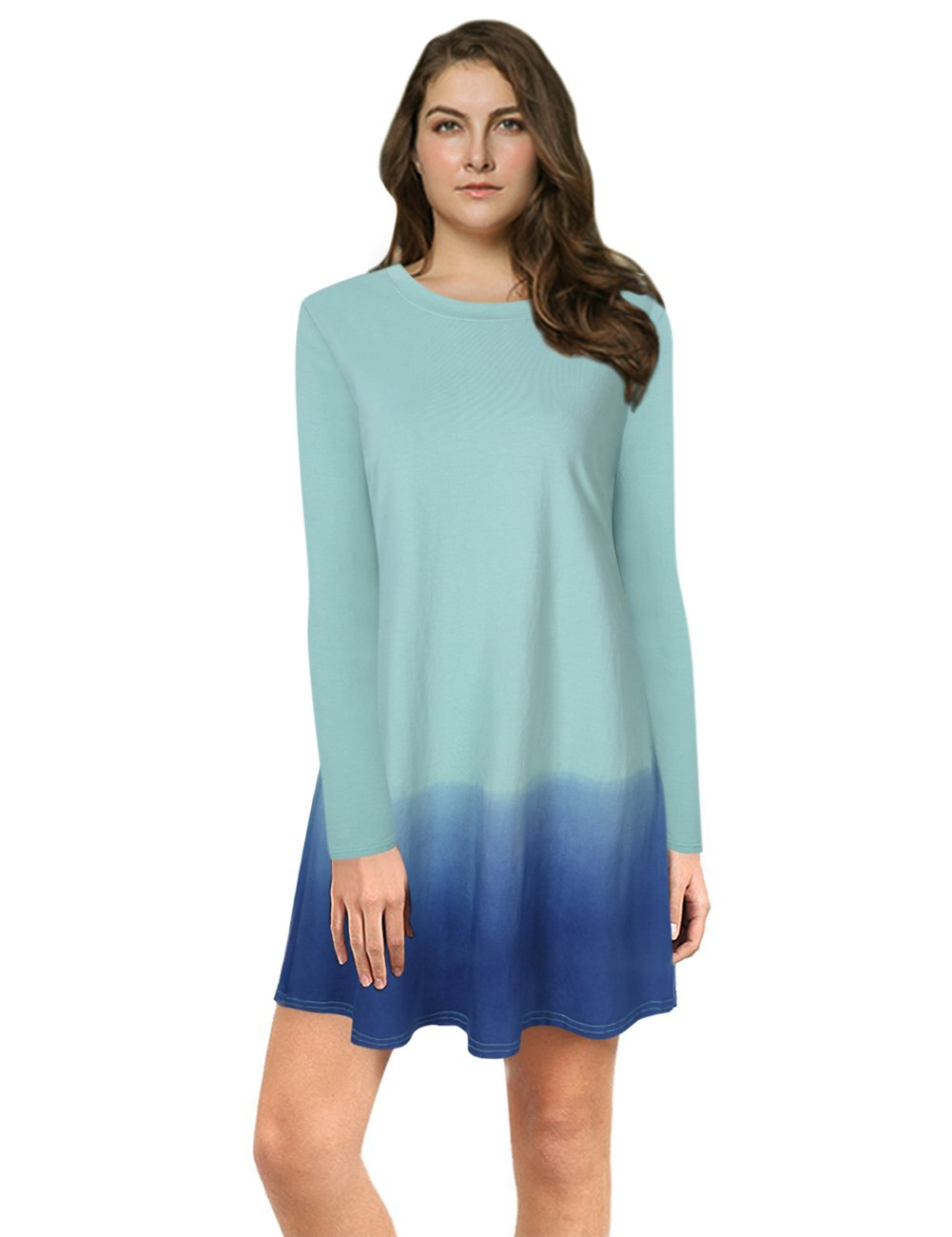 AMZ PLUS Women Plus Size Casual Tie Dye Ombre Long Sleeve Tunic T Shirt Dress Light Green XL