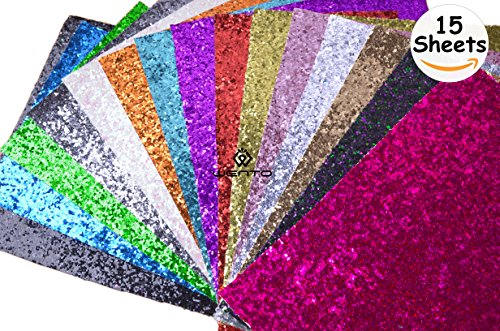 WENTO Assorted Colors 15pcs 12 x 12 (30cm x 30cm) Sparkly chunky glitter fabric,glitter fabric sheets For Hair Bows making,Sewing DIY Crafts Glitter Fabric Convas on reverse