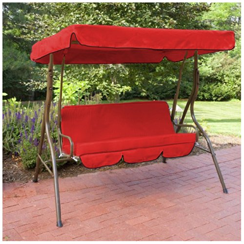 Water Resistant 2 Seater Replacement Canopy & Seat Pad ONLY for Swing Seat/Garden Hammock in Red Gardenista