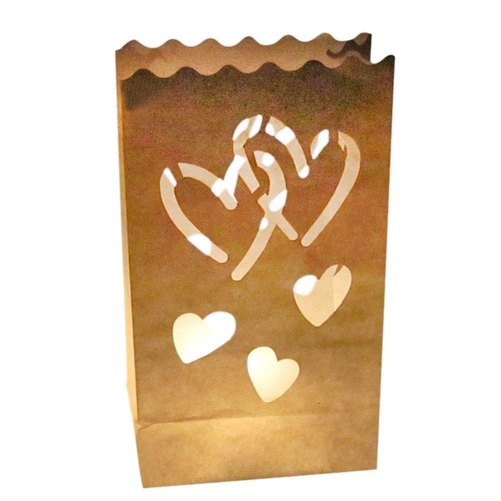 lennonsi 10 Pezzi Sacchetti di Candele Candele a Forma di Doppio Cuore Decorazioni per Feste da Festival 26cm /× 15cm