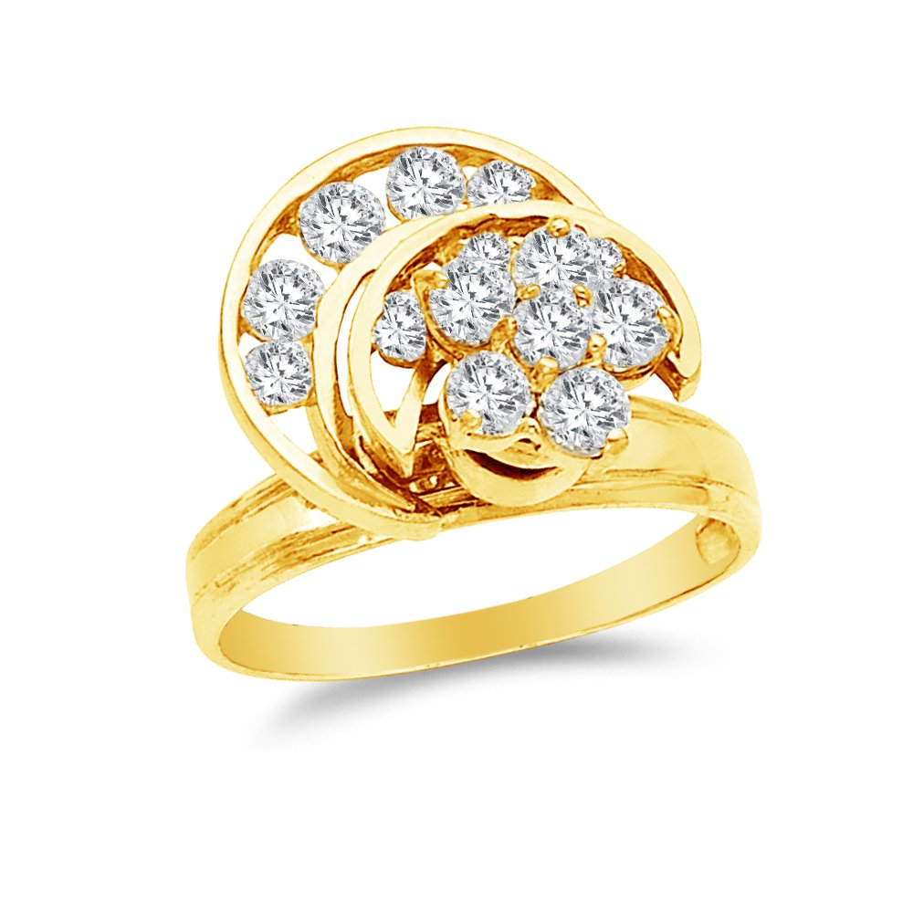 Size - 7 - 14k Yellow Gold Highest Quality CZ Cubic Zirconia Motion Ring