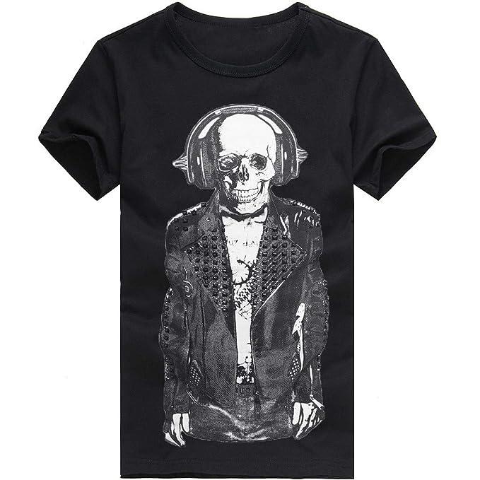 Cebbay Camiseta con Estampado de Calavera de Hombre Cómoda ...