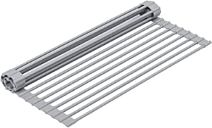 """16.5""""x13.8"""" Over the Sink Roll-up Dish Drying Rack for Tableware Water Filtering, Steel Bar Folding Dish Drying Rack with Nonslip Silicone for Kitchen/Dining-Table"""