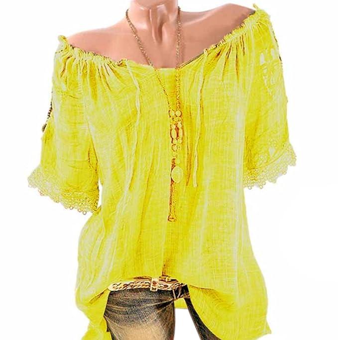 JackenLOVE Verano Casual Suelto Blusas Túnicas Encaje Splicing Shirt Tops Sudaderas Camisetas T Shirt Pullover Mujeres Camisa Largas Moda Cuello Barco ...