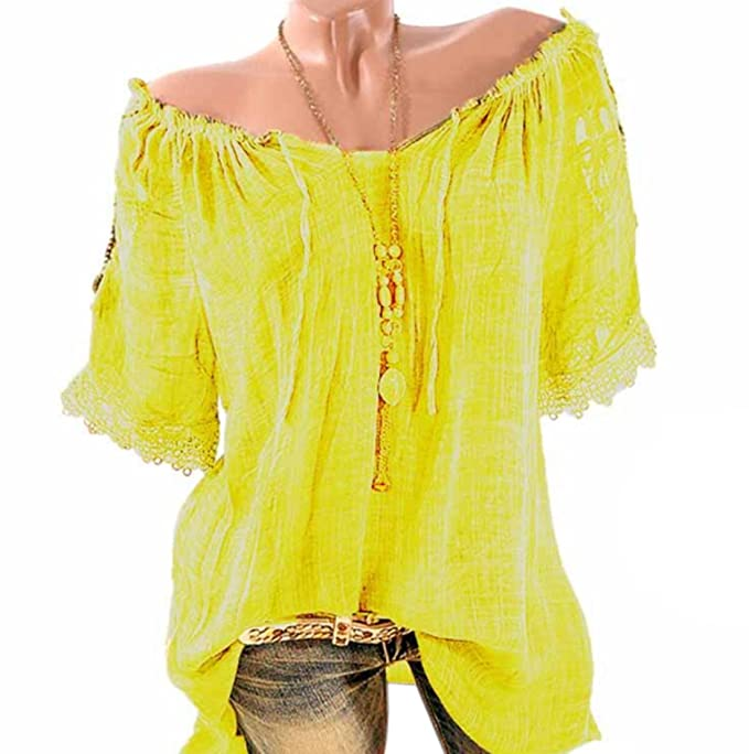 Onlyoustyle Verano Mujeres Camisa Largas Moda Cuello Barco Vendaje Manga Corta Blusas Casual Suelto Camisetas Túnicas