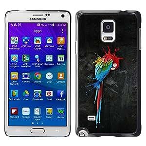 Be Good Phone Accessory // Dura Cáscara cubierta Protectora Caso Carcasa Funda de Protección para Samsung Galaxy Note 4 SM-N910 // Parrot Art Colorful Painting Watercolor Bird Art
