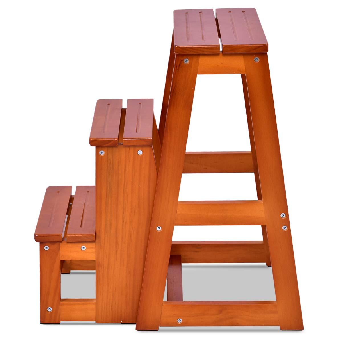 COSTWY Escalera Silla de Madera Plegable Multifunci/ón Escalera Banqueta Taburete Estanter/ía Escal/ón para Ba/ño Hogar Decoraci/ón Marr/ón oscuro