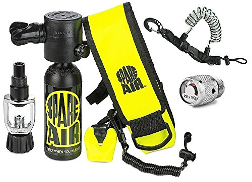 Spare Air New 1.7CF Package for Scuba Divers With Dial Gauge Upgrade, Fill Adapter, Holster, Leash, and FREE Quick Release Coil Lanyard ($15.95 Value) ... by Spare Air