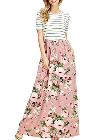 9888edc1e6 TECREW Women's Striped Floral Print Boho Long Maxi Dress 3/4 Sleeve Tie  Waist with Pockets at Amazon Women's Clothing store: