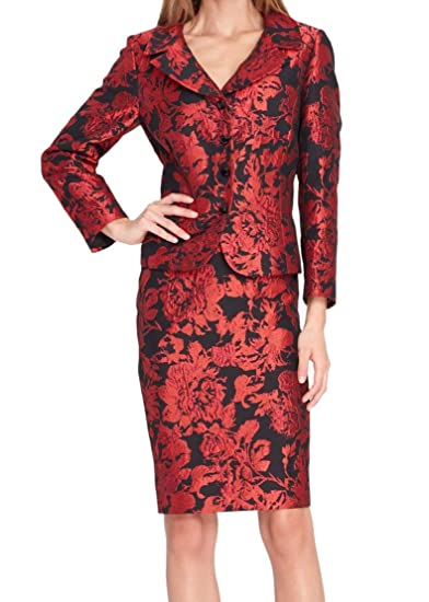 d3912b59ecb Amazon.com  Tahari ASL Womens Embroidered 2 PC Skirt Suit Red 4  Clothing