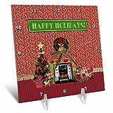 3dRose Beverly Turner Christmas Design - Christmas Room, Fireplace, Tree, Toys, Happy Holidays - 6x6 Desk Clock (dc_267930_1)
