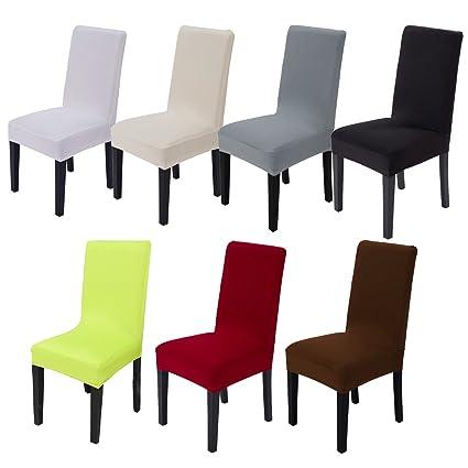 Vinteky Funda para silla de salón,Funda elastica y lavable para protección silla de comedor,en diferente color para respaldo de silla redondo y ...