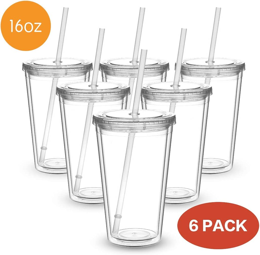 Civago Clear Insulated Acrylic Plastic Tumbler Set with Lid and Reusable Straw, Classic Double Wall Tumbler Cup - 16 oz, 6 Pack (All Clear)
