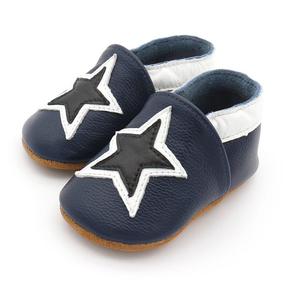 12-18 Months//5.5inch Dark Blue Stars FREE FISHER Baby Shoes Moccasins Soft Soled Leather Infant Toddler Prewalker