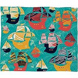 "Deny Designs Sam Osborne , Pirate Ships, Fleece Throw Blanket, Large , 80"" x 60"""
