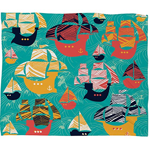 Sam Fleece - Deny Designs Sam Osborne, Pirate Ships, Fleece Throw Blanket, Large, 80