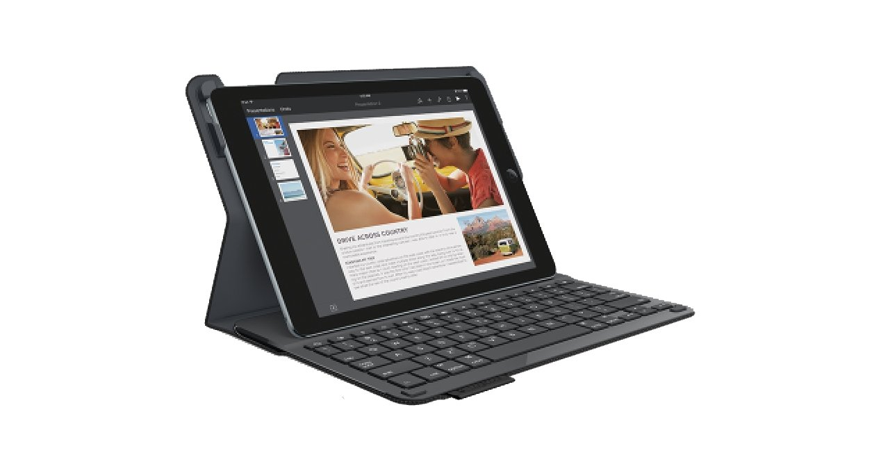 Logitech 920-006576 Protective Case with Integrated Keyboard for iPad Air 2 (Woven Black) by Logitech (Image #1)