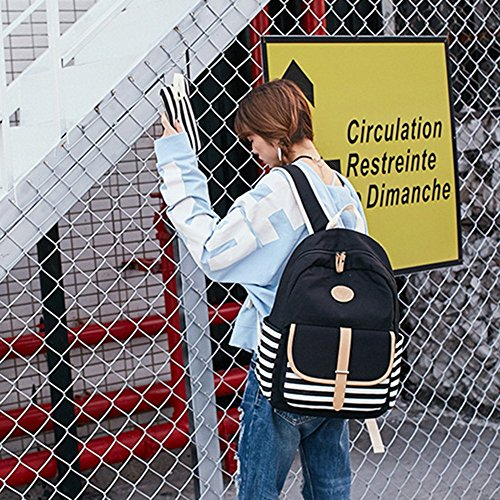 Mano Lona Casual Aire Mujeres Acampada Escolar De Bolsillo Hombro Y Al Para Negro Litthing azul Conjunto Bolsos Libre Excursión La 3 Mochila,bolso TzwCST8vqx