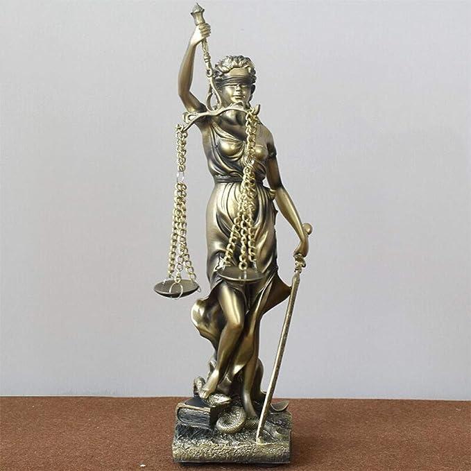 qwqqaq Lady Justice Themis,Diosa del Derecho Estatua Ciego Doblado Escultura Resina Decoración De Escritorio Creativo Museo De-Grado Adornos De Arte para La Ley-a 11x12x47cm(4x5x19inch): Amazon.es: Hogar