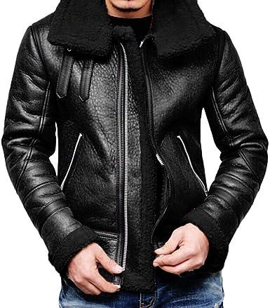 Logobeing Chaqueta Hombre Camisas Chaqueta Cuero Hombre Abrigo de Piel de Solapa con Forro con Cremallera Abrigos Hombre(XXXL, Negro): Amazon.es: Ropa y accesorios