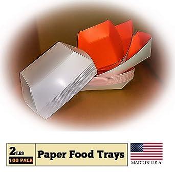 Amazon.com: Bandejas de papel para alimentos, color naranja ...