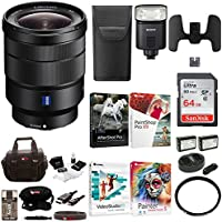 Sony 16-35mm E-Mount Lens with HVLF32M Camera Flash and 64GB SD Card Bundle