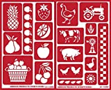 Over 'n' Over Reusable Self-Stick Etching Stencil for Glass (Or Stamping) - Bundle of Two Sets - Farm to Table: Tutti Frutti and Farm Friends