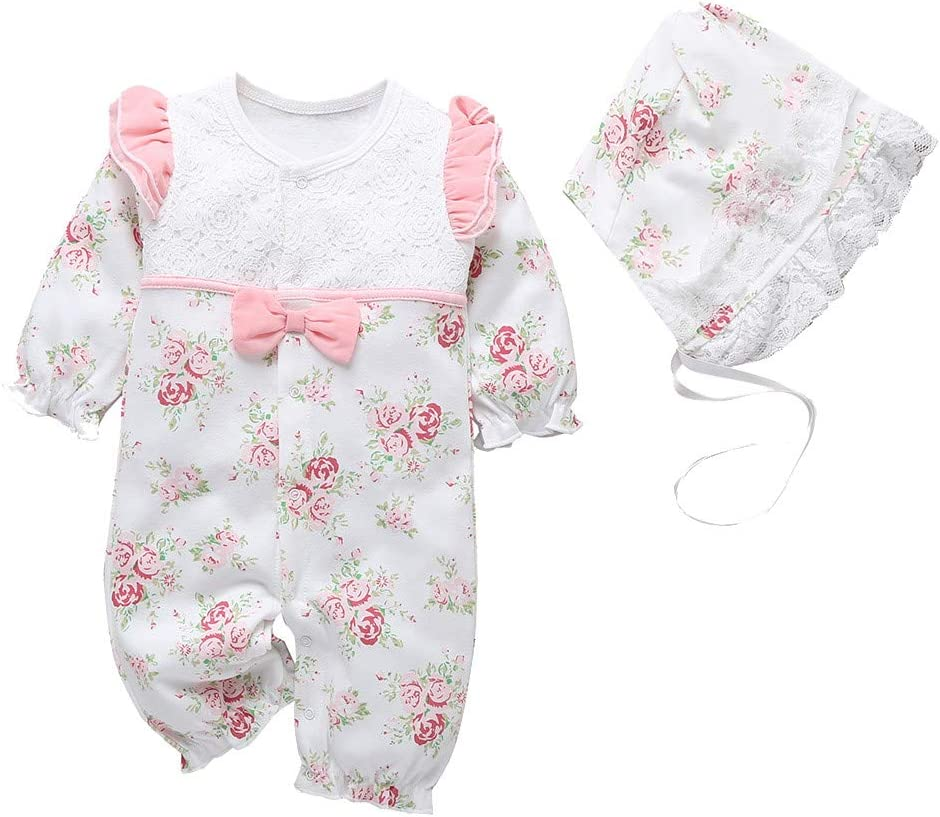 MINKOU Baby Romper,Newborn Baby Girls Floral Print Ruffles Lace Romper Jumpsuit+Hat Outfits Pink, 80