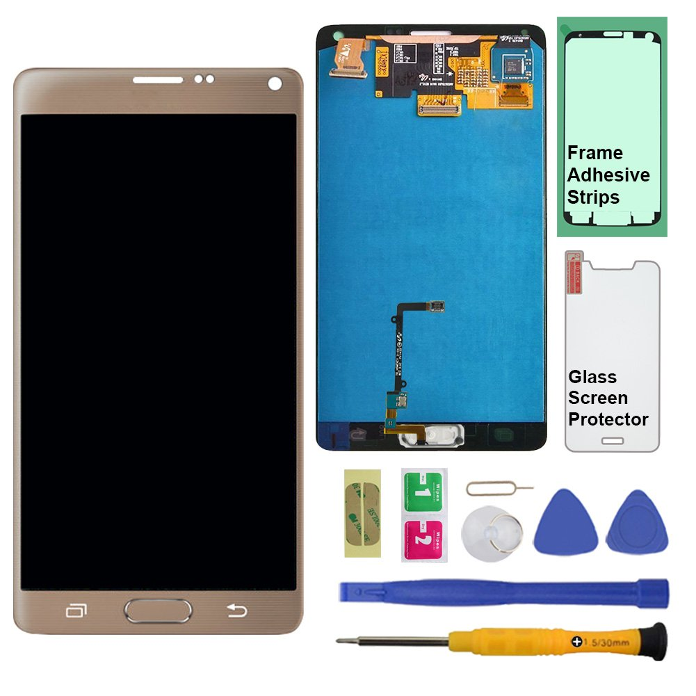 Display Touch Screen (AMOLED) Digitier Assembly with Stylus Pen Sensor for Samsung Galaxy Note 4 (IV) N910 N910A N910V N910P N910T N910R4 N910W8 N910F N910U (Mobile Phone Repair Replacement) (Gold)