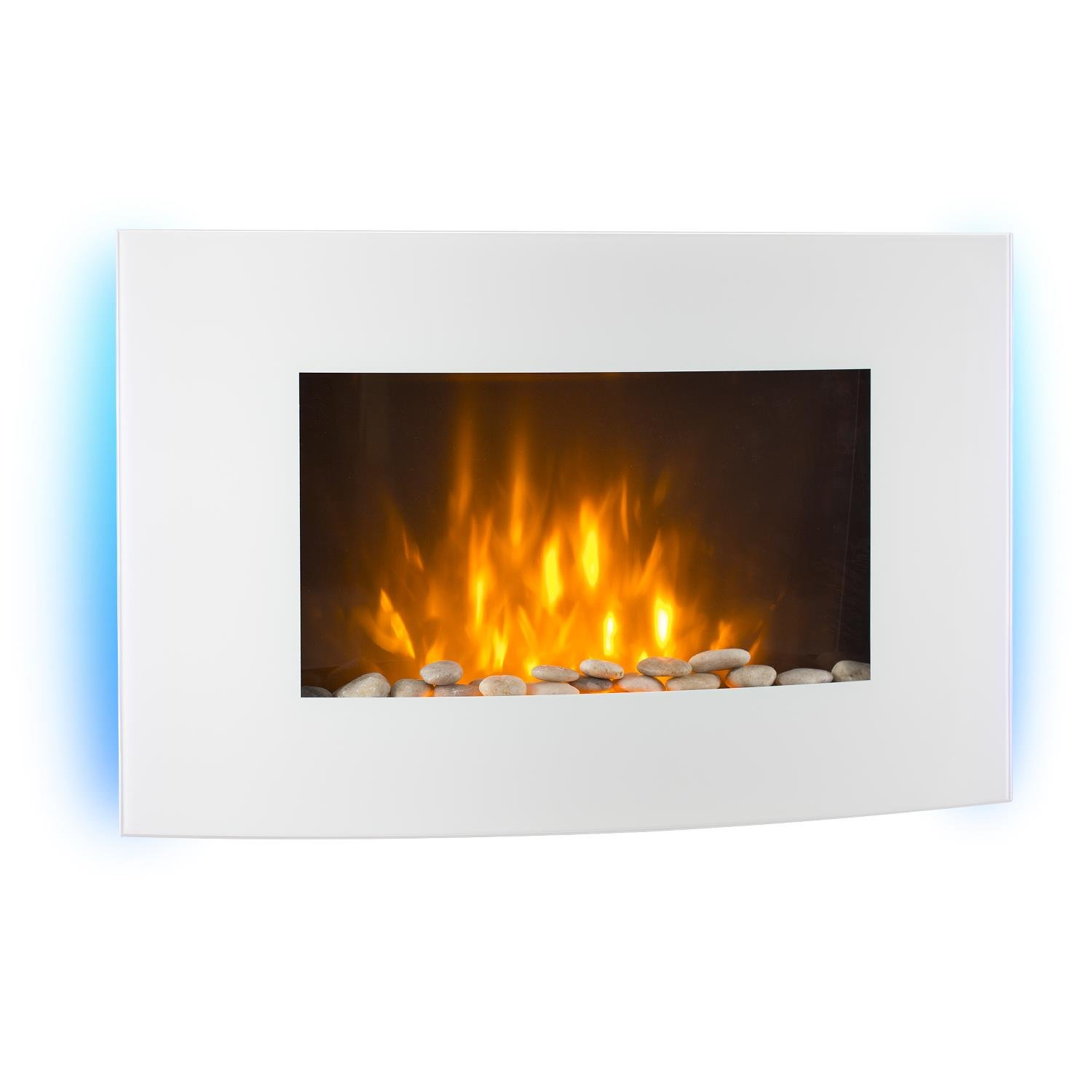 Klarstein Lausanne Electric Fireplace • 2000W • Built-In Fan Heater • Dimmer Function • Color LED Flame Effect • Glass Front Panel • Wall Mountable • Operation via Remote Control Panel • Powerful and Quiet Operation • Dimmer Function • White