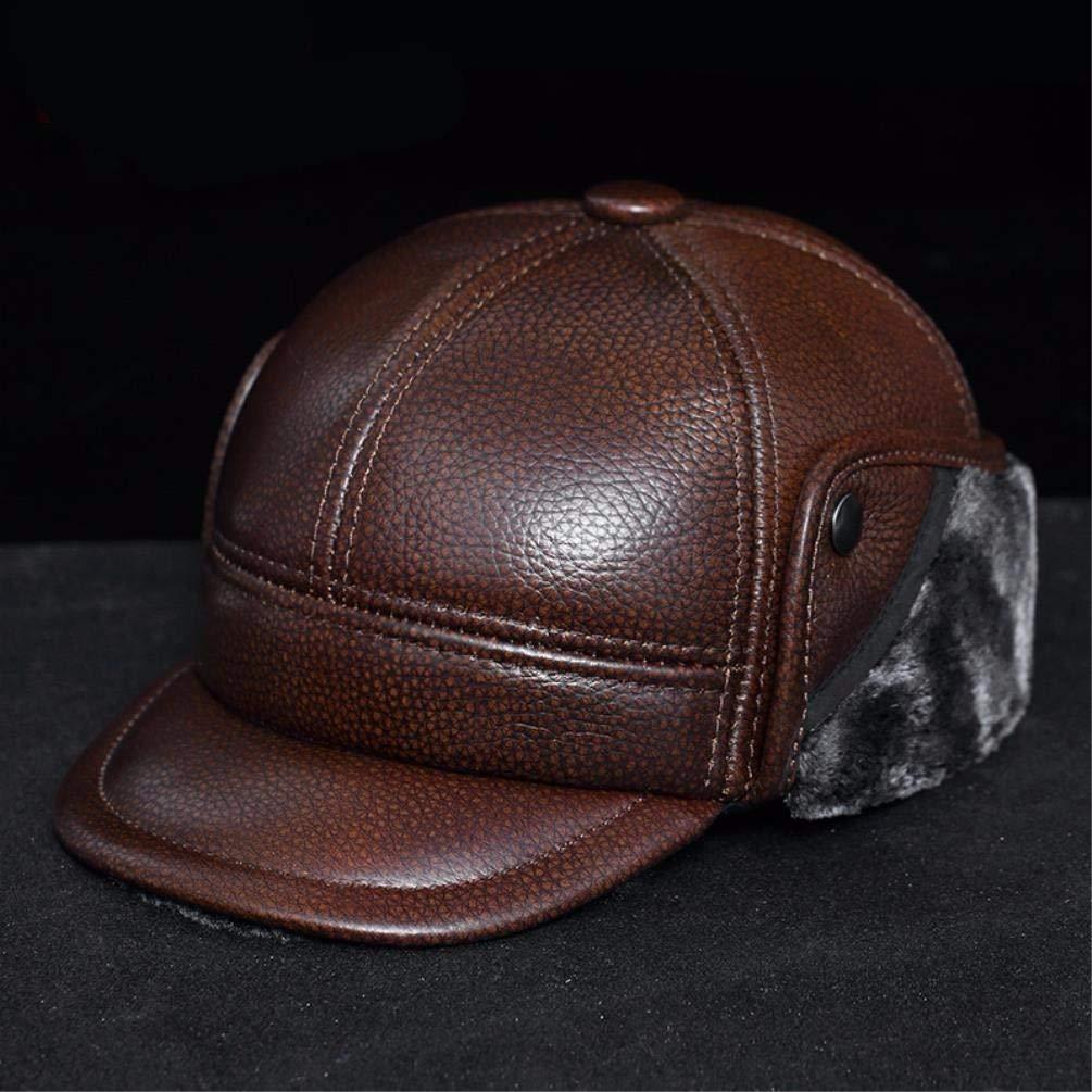 QIER-PM Warme Mütze des Herbst- und Winterleders der Männer warme Mütze kalte Hutbaumwollkappe im Freienbaseballmütze
