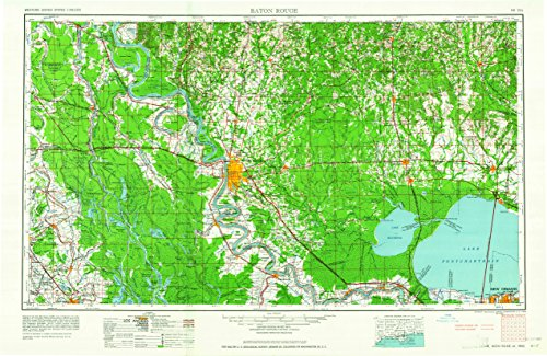 Baton Rouge LA topo map, 1:250000 scale, 1 X 2 Degree, Historical, 1962, updated 1962, 22 x 33.9 IN - - Map Mayfair