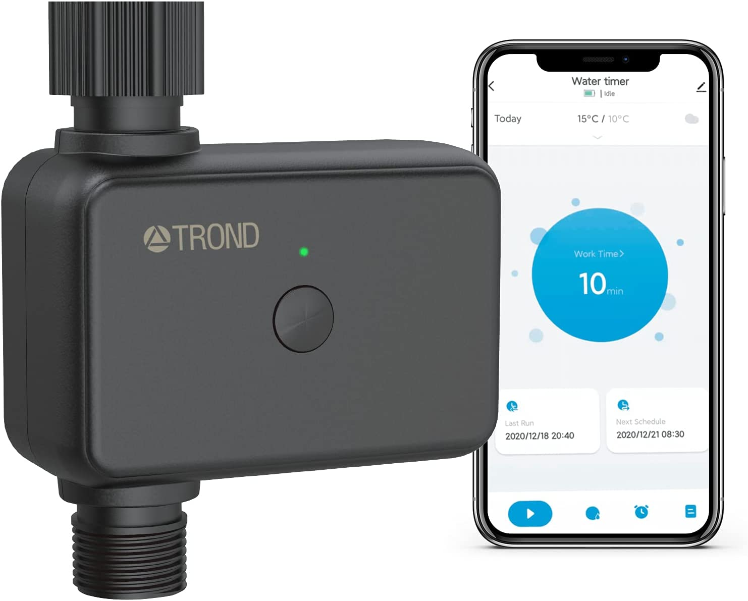 TROND Smart Sprinkler Water Timer, Bluetooth Water Hose Faucet Timer with Rain Delay, Programmable Irrigation Timer with Irrigation&Mist Mode for Outdoor Garden, Lawn