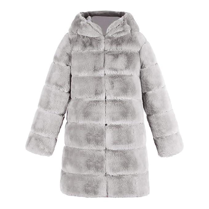 JUTOO 2018 Abrigo de Piel sintética de Lujo de Moda de Mujer con Capucha otoño Invierno cálido Abrigo: Amazon.es: Ropa y accesorios