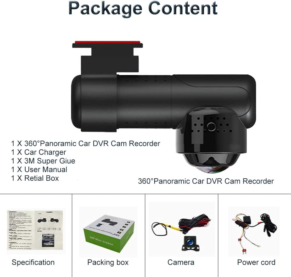 Loop G Sensor IR Night Vision Sony Sensor 24hr Parking Mode Voice Control podofo Dual Dash Cam 1080P Full HD Front and Rear Camera for Car with 360/°Wide Vision Car Driving Recorder Support WiFi