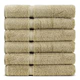 Towel Bazaar 6-Pack 100% Turkish Cotton Wash Cloths, Multi-purpose, Lightweight, Durable, Machine Washable Sport and Workout Face Towels, Dobby Border (13x13 Inch, Driftwood)