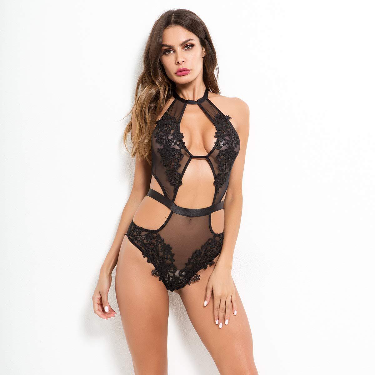 Ropa Erótica Interior Para Mujeres Sexy Lencería Encaje Erótica Bodysuit Ropa Atractiva Erótica Encaje Pijama Mujer Body Transparente Conjunto De Lencería,M 6b3463