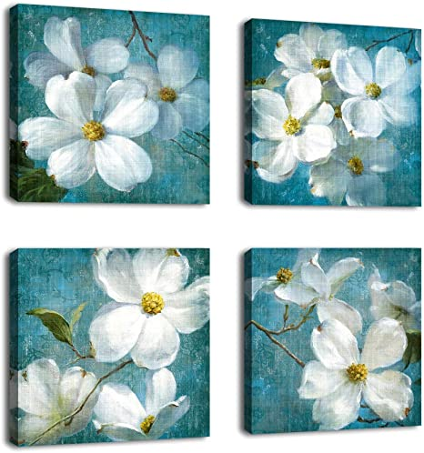 Amazon Com Flowers Wall Art Canvas Picture Bathroom Wall Decor White Blossom Blue Background Canvas Artwork Bedroom Living Room Wall Decor Contemporary Canvas Painting Office Home Decor 12 X 12 X 4 Pieces