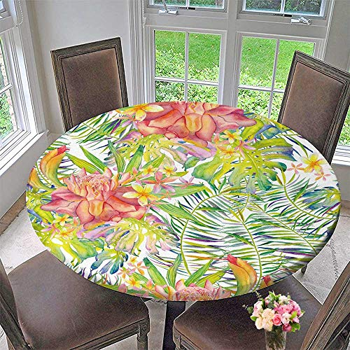 PINAFORE HOME Round Premium Table Cloth with Palm Leaves Monstera Leaves and ger Flowers Perfect for Indoor, Outdoor 59