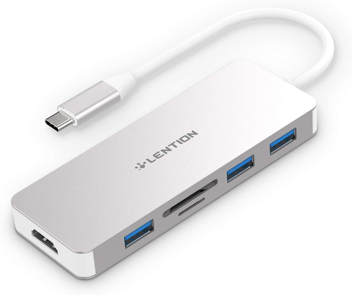 LENTION USB C Hub with 4K HDMI, 3 USB 3.0, SD/Micro SD Card Reader Compatible 2020-2016 MacBook Pro 13/15/16, New Mac Air/Surface, Chromebook, Multi-Port Adapter (CB-C18, Silver)